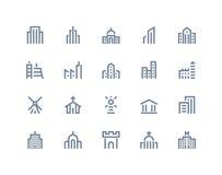 Значки зданий Линия серия Стоковое Изображение RF
