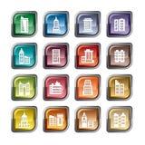 Значки зданий Стоковое Изображение