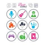 Значки игры, боулинга и головоломки зрелищность бесплатная иллюстрация