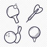 Значки игр линейные Пингпонг, гольф, боулинг, сметывает досуги Играющ в азартные игры, линия значок игры спорта бесплатная иллюстрация