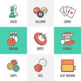 Значки игр спорта и отдыха казино Стоковое Фото
