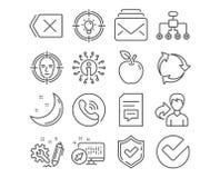 Значки идеи, почты и комментариев Смотрите на обнаружьте, изменяющ структуру и извлеките знаки вектор иллюстрация штока