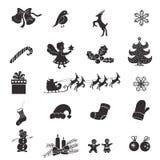 Значки изолированные рождеством на белой предпосылке Стоковое Фото