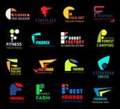 Значки или символы f письма для изолированного дела иллюстрация штока