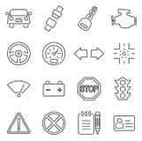 Значки испытания управляя школы или водителей тонко выравнивают комплект иллюстрации вектора Стоковая Фотография RF