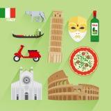 Значки Италии плоские бесплатная иллюстрация