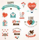 Значки, литерность и элементы дня валентинки Стоковая Фотография RF