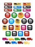 Значки и значки тележки бесплатной доставки Стоковая Фотография RF