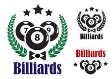 Значки или эмблемы биллиардов Стоковое Изображение RF