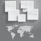 Значки и карта мира, для дизайна Стоковое фото RF