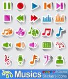 Значки и кнопки музыки Стоковое Фото