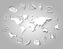 Значки и мир связи Стоковое Изображение RF