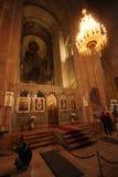 Значки и настенные росписи на стенах внутри Svetitskhoveli в Mtskheta, Georgia стоковые фотографии rf