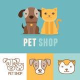 Значки и логотипы собаки и кошки вектора Стоковые Изображения RF