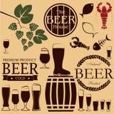 Значки и символы пива Стоковое Изображение