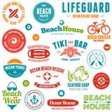 Значки и эмблемы пляжа Стоковое Изображение RF