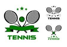 Значки и эмблемы спорта тенниса Стоковое фото RF