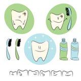 Значки, иллюстрации младенца на теме зубоврачебной заботы Стоковые Фотографии RF