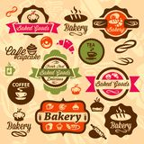 Значки и ярлык хлебопекарни Стоковая Фотография