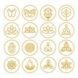 Значки йоги вектора Стоковое Фото