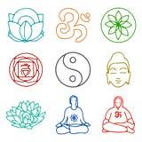 Значки йоги Стоковое Изображение