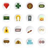 Значки казино установленные плоские Стоковая Фотография