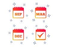 Значки календаря Декабрь -го март -го сентябрь, r бесплатная иллюстрация