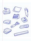 Значки канцелярских принадлежностей офиса иллюстрация вектора