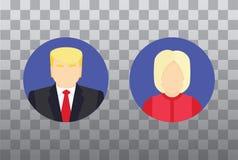 Значки кандидата в президенты, концепция избрания Плоская иллюстрация Стоковое Изображение