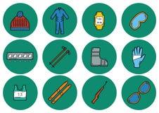 Значки катания на лыжах Стоковые Изображения RF
