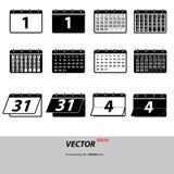 Значки календаря серого цвета установленные изолированные на предпосылке Современное плоское pict Стоковая Фотография RF