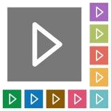 Значки квадрата игры средств массовой информации плоские Стоковое Изображение