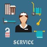 Значки квартиры обслуживания перемещения и гостиницы Стоковое Изображение
