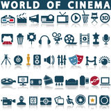 Значки кино, фильма и кино Стоковая Фотография RF