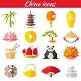Значки китайца вектора иллюстрация вектора