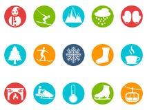 Значки кнопки зимы круглые Стоковые Изображения RF