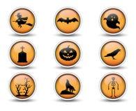 Значки кнопок и хеллоуина установили 01 бесплатная иллюстрация