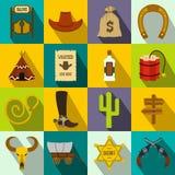 Значки ковбоя Диких Западов плоские Стоковые Изображения RF
