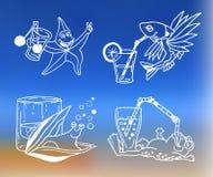 Значки коктеиля лета для меню Стоковые Изображения