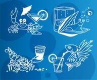 Значки коктеиля лета для меню Стоковые Фото