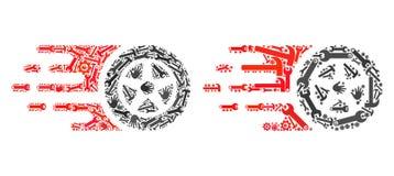 Значки колеса автошины мозаики инструментов обслуживания иллюстрация штока