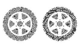 Значки колеса автошины мозаики инструментов ремонта иллюстрация вектора