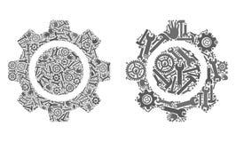 Значки колеса Cog мозаики инструментов ремонта иллюстрация вектора