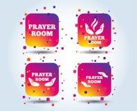 Значки комнаты молитве Символы священника вероисповедания иллюстрация штока