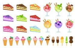 Значки комплекта помадок большие, торт и мороженое, чизкейк, десерт в стеклянной чашке, стиль шаржа Торты различных вкусов Стоковая Фотография