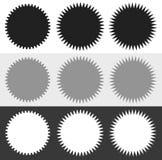 Значки, комплект формы sunburst starburst Пустые стикеры любят grap иллюстрация вектора