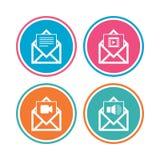 Значки конверта почты Символы документа сообщения Стоковая Фотография RF