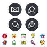 Значки конверта почты Символы документа сообщения Стоковые Изображения RF