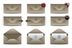 Значки конвертов для электронной почты Стоковые Изображения