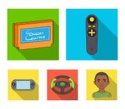 Значки консоли и кнюппеля игры плоские в собрании комплекта для дизайна Иллюстрация сети запаса символа вектора устройств игры Стоковое Фото